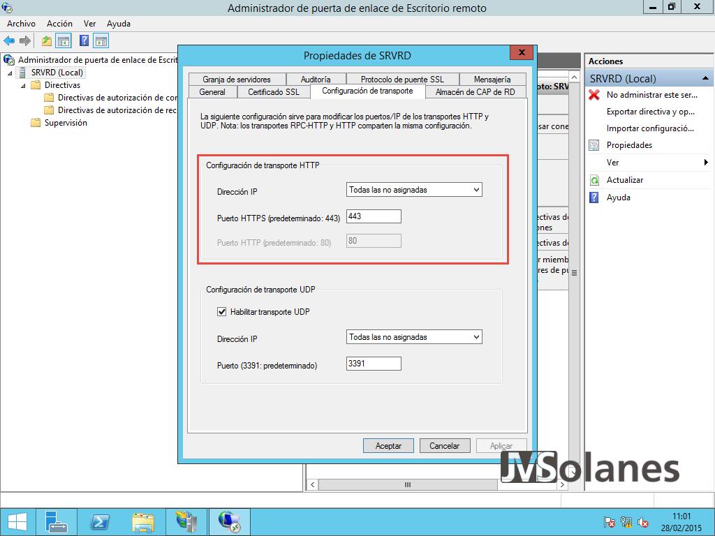 Porta enllaç Escriptori Remot - pantalla configuració 20