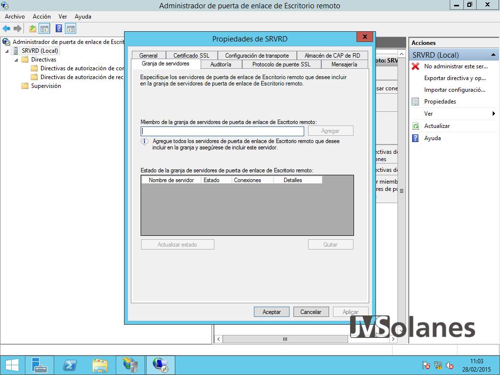 Porta enllaç Escriptori Remot - pantalla configuració 22