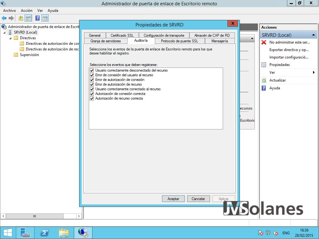 Porta enllaç Escriptori Remot - pantalla configuració 22a