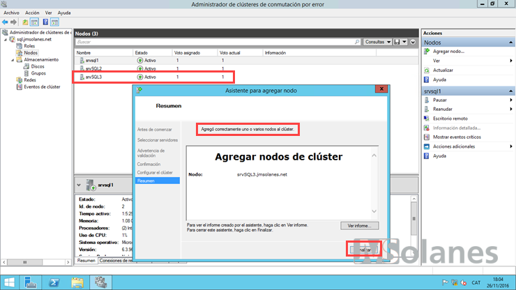 cluster-rolling-upgrade node afegit correctament al clúster Windows Server 2012 R2